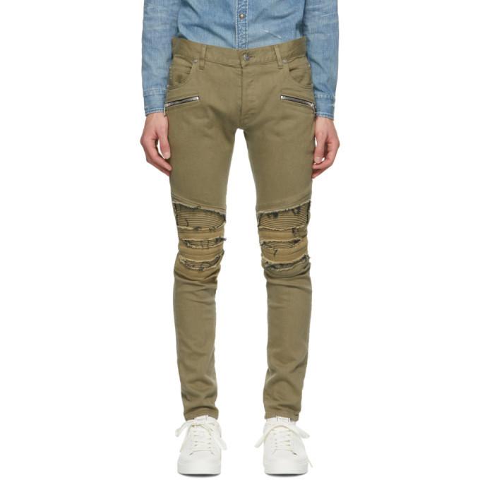 Photo: Balmain Khaki Ribbed Patches Slim Jeans