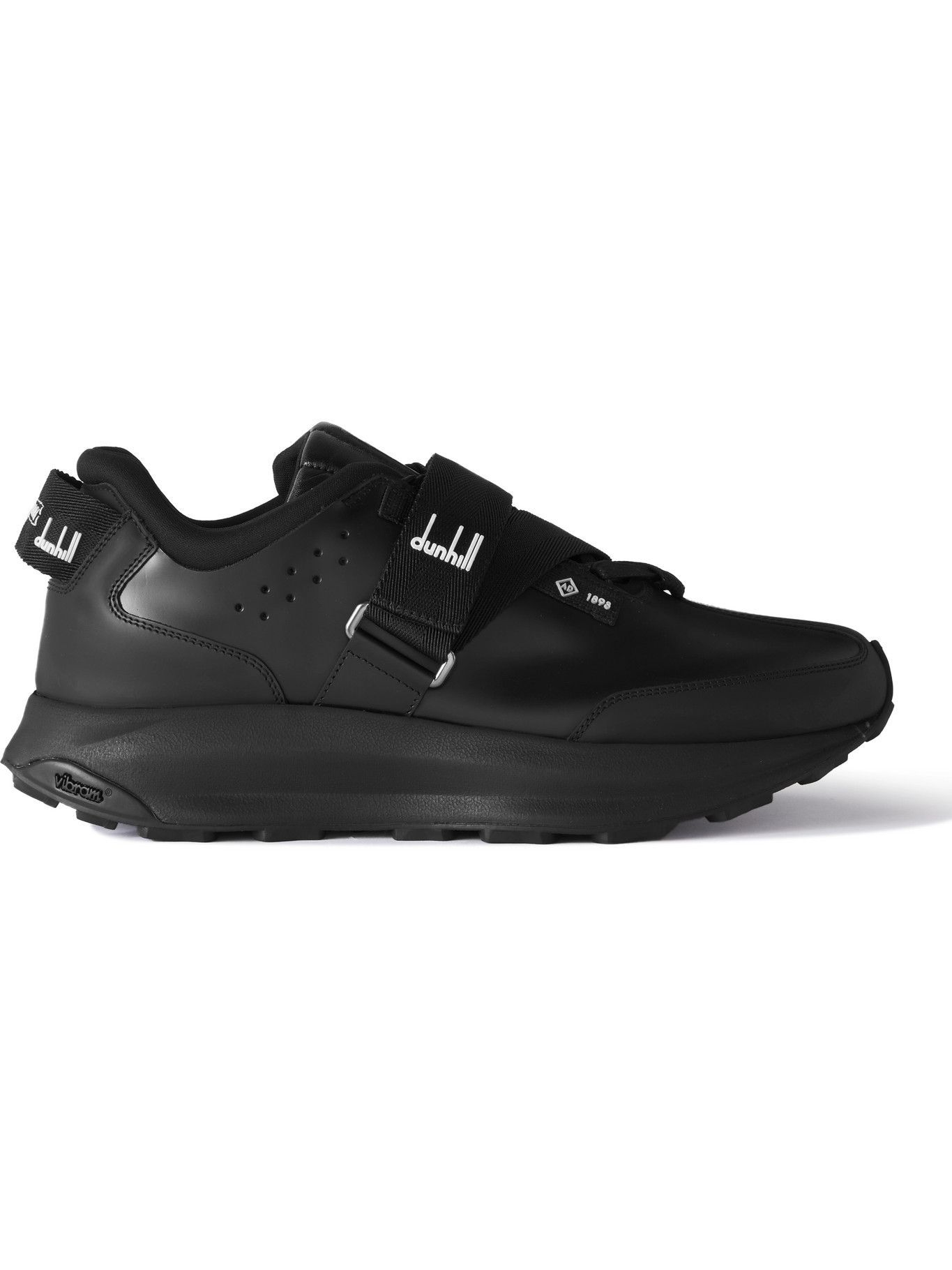 Photo: Dunhill - Aerial Runner Rubber-Trimmed Leather Sneakers - Black