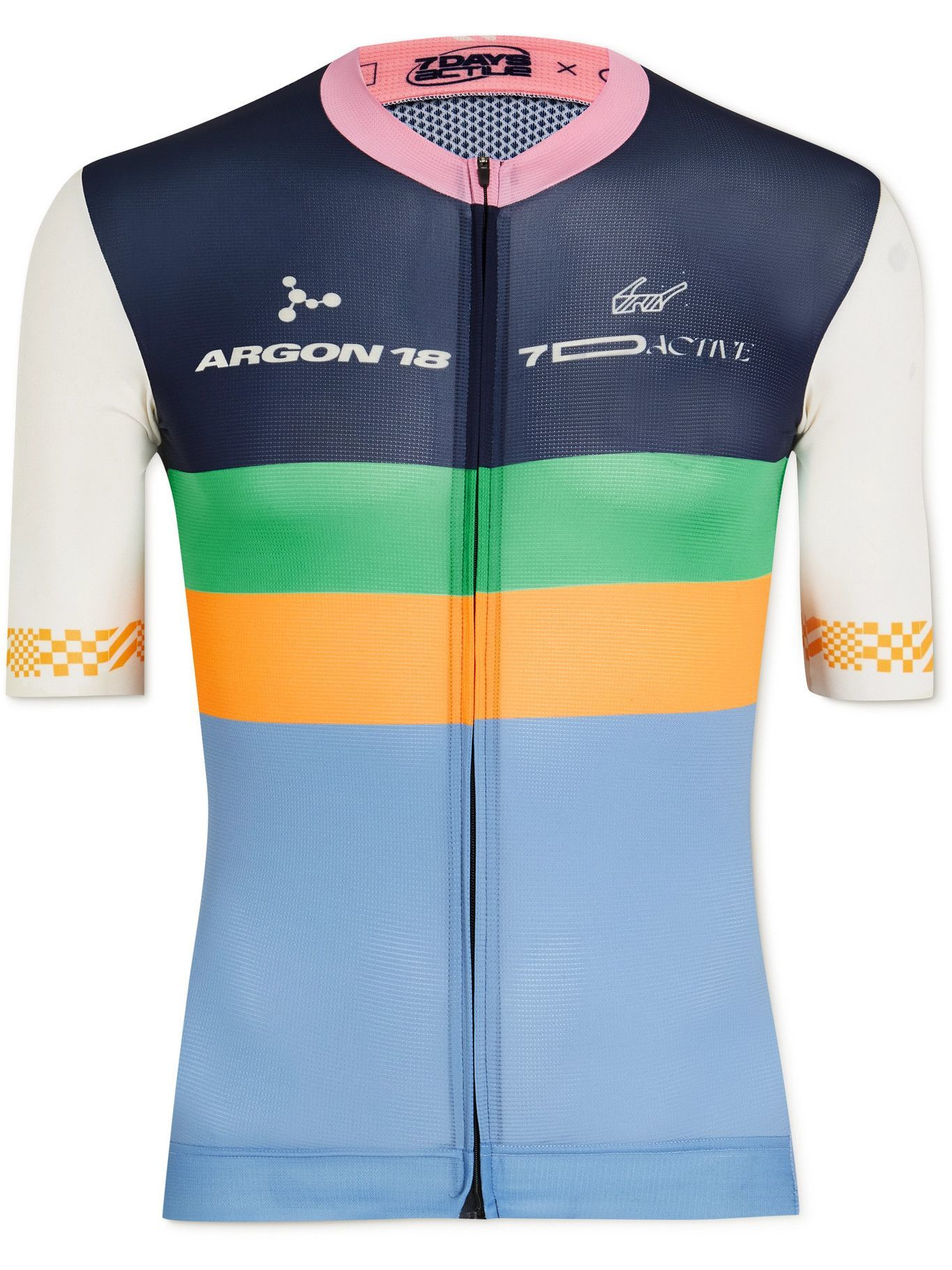 Photo: 7 DAYS ACTIVE - Argon 18 Colour-Block Recycled Cycling Jersey - Blue
