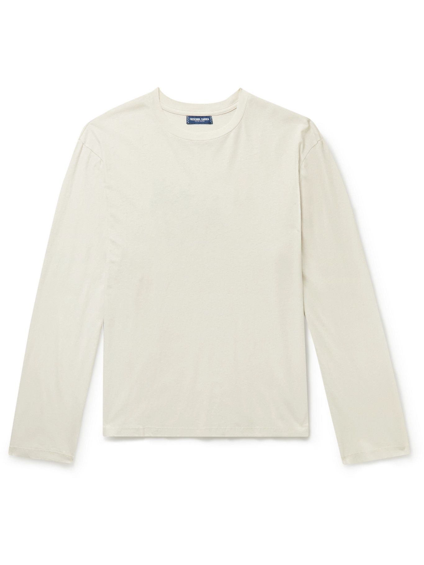 Photo: Frescobol Carioca - Garrett Leight Printed Cotton and Linen-Blend T-Shirt - Gray