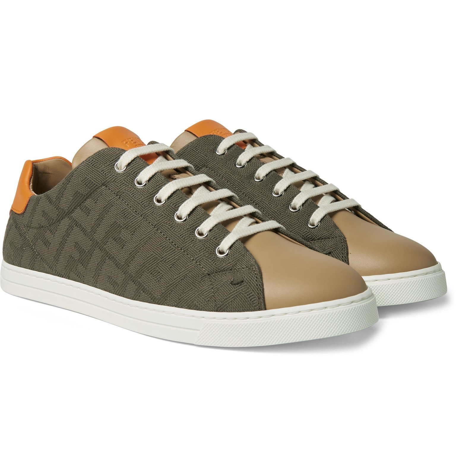 Photo: Fendi - Logo-Jacquard Canvas and Leather Sneakers - Green