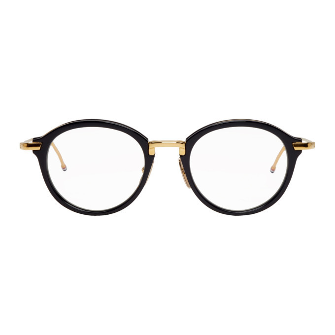 Photo: Thom Browne Black and Gold Round TB-011 Glasses