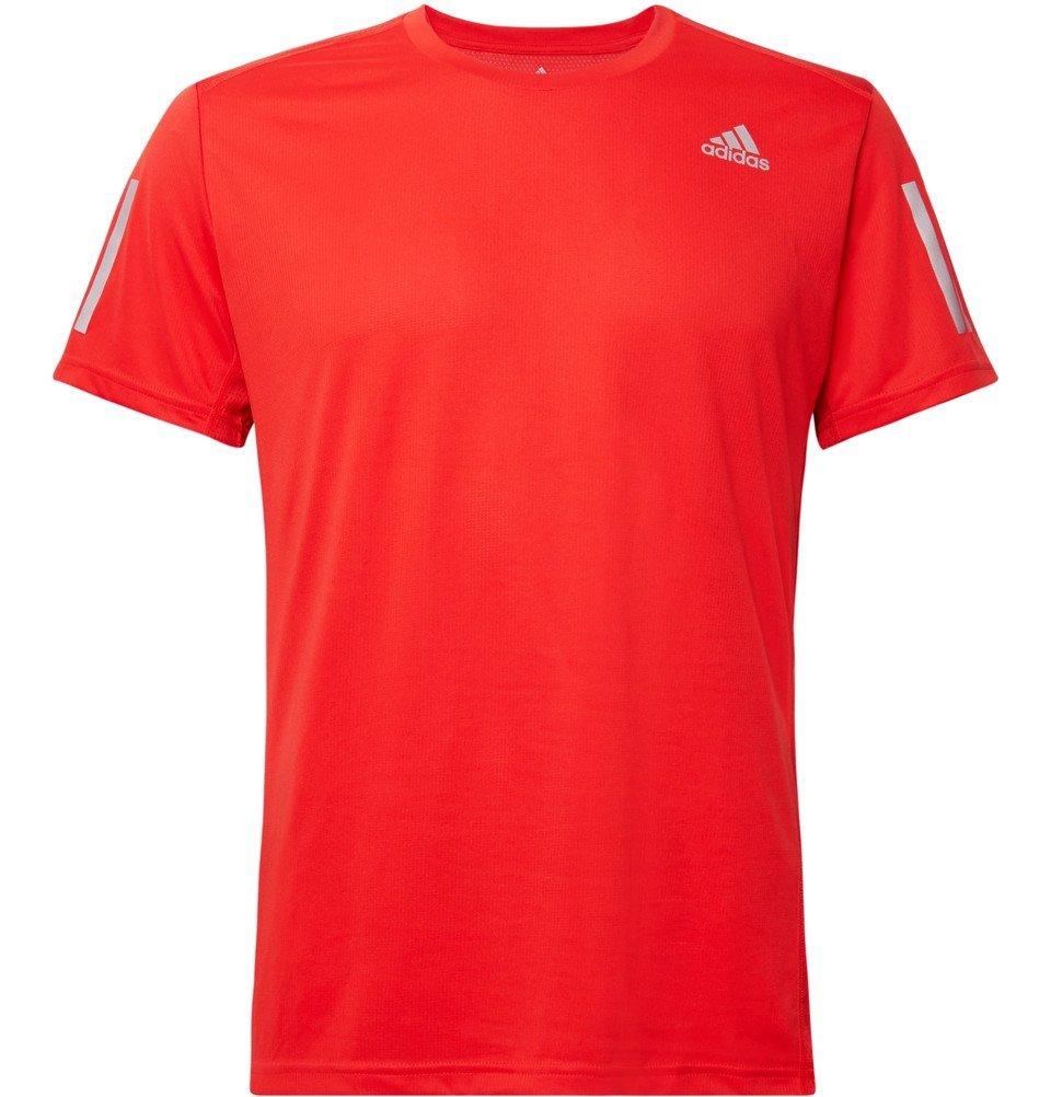 Photo: Adidas Sport - Own the Run Mesh-Panelled Tech-Jersey T-Shirt - Red