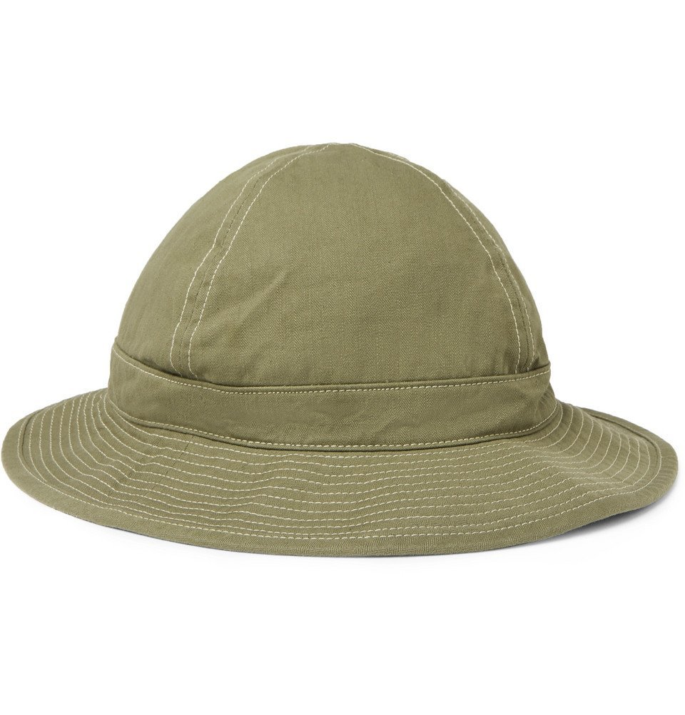 Photo: OrSlow - Herringbone Cotton Bucket Hat - Green
