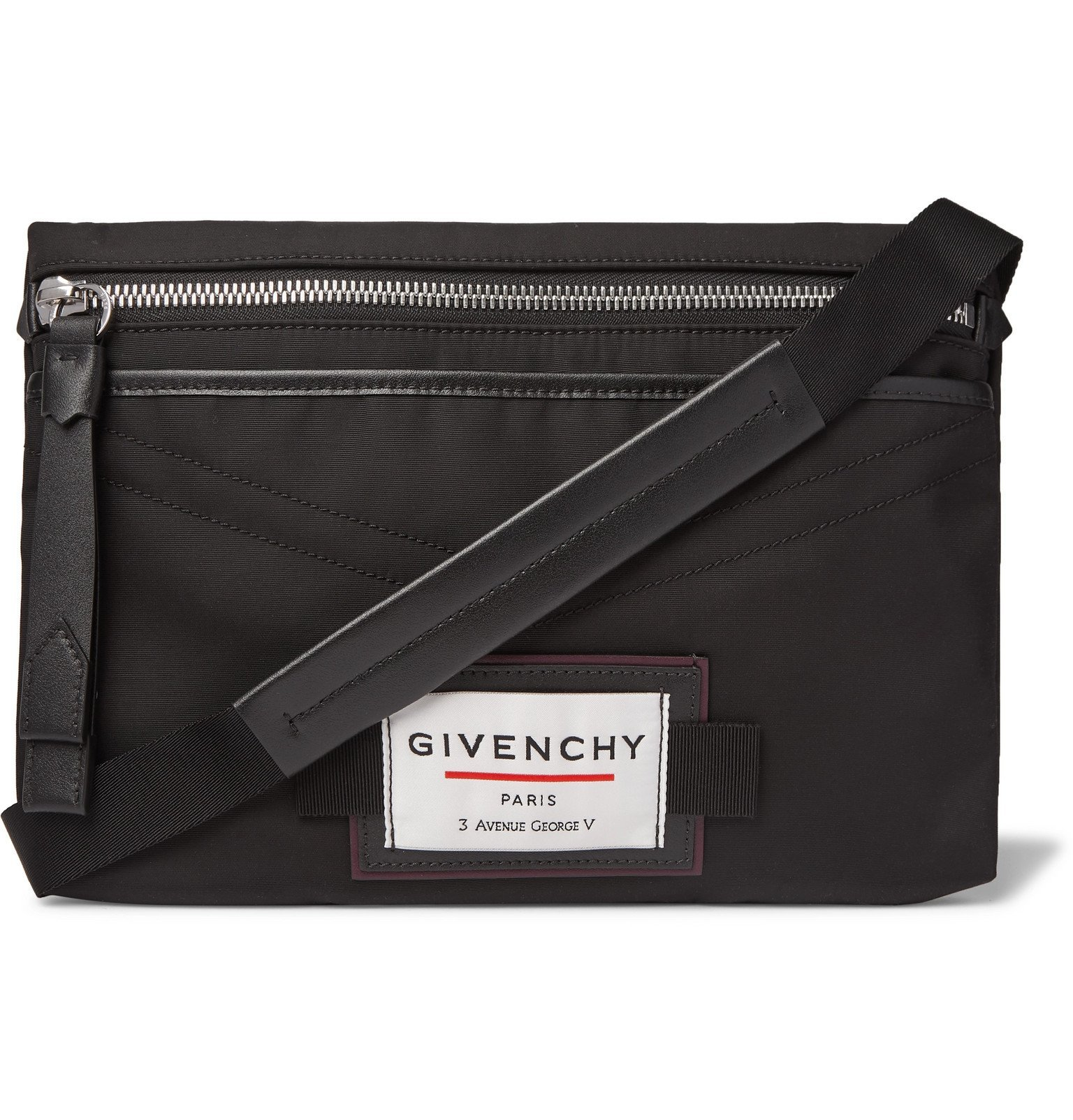 Photo: Givenchy - Downtown Leather-Trimmed Shell Messenger Bag - Black