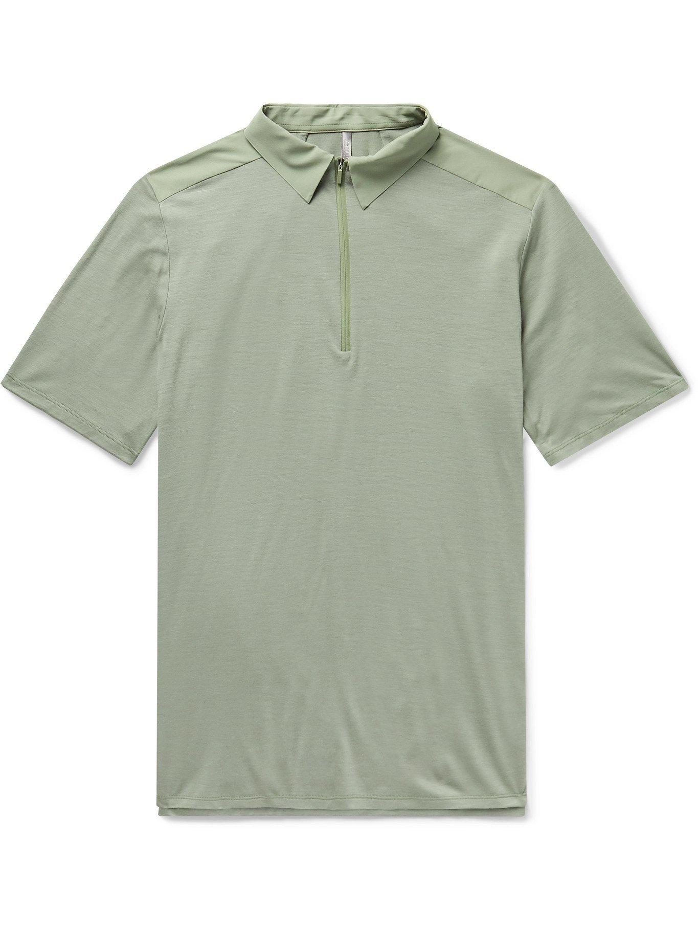VEILANCE - Frame Shell-Trimmed Wool-Blend Polo Shirt - Gray
