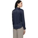 3.1 Phillip Lim Navy Satin Tuxedo Shirt