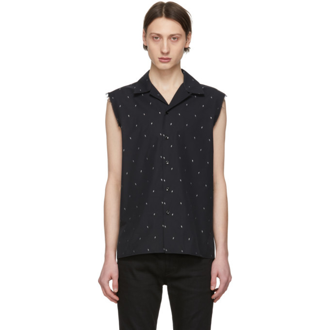 Photo: Saint Laurent Black and Silver Lame Sleeveless Shirt