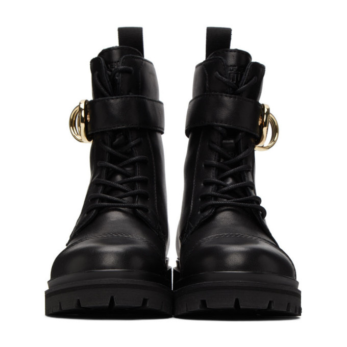 Versace Jeans Couture Black Belted Lace-Up Ankle Boots