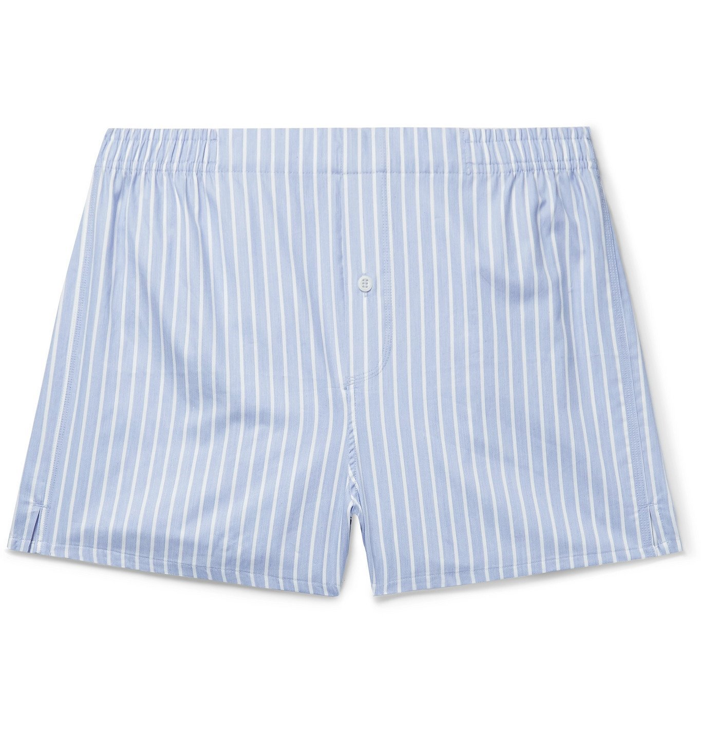 Photo: Hamilton and Hare - Striped Cotton Boxer Shorts - Blue