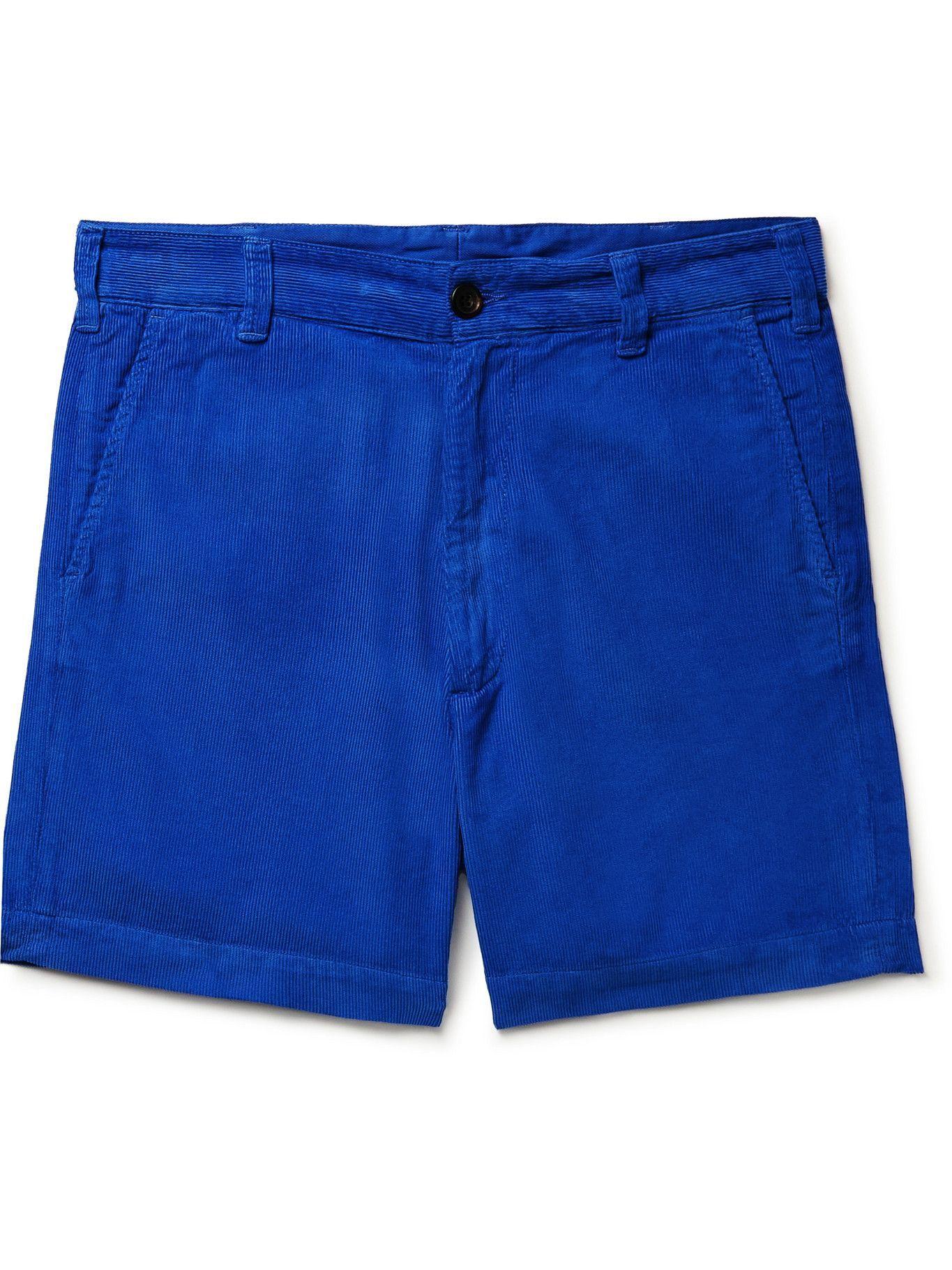 Photo: Drake's - Slim-Fit Cotton-Corduroy Chino Shorts - Blue
