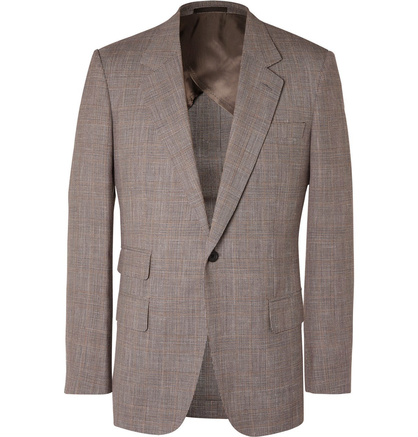 Photo: Kingsman - Prince of Wales Checked Wool, Silk and Linen-Blend Suit Jacket - Brown