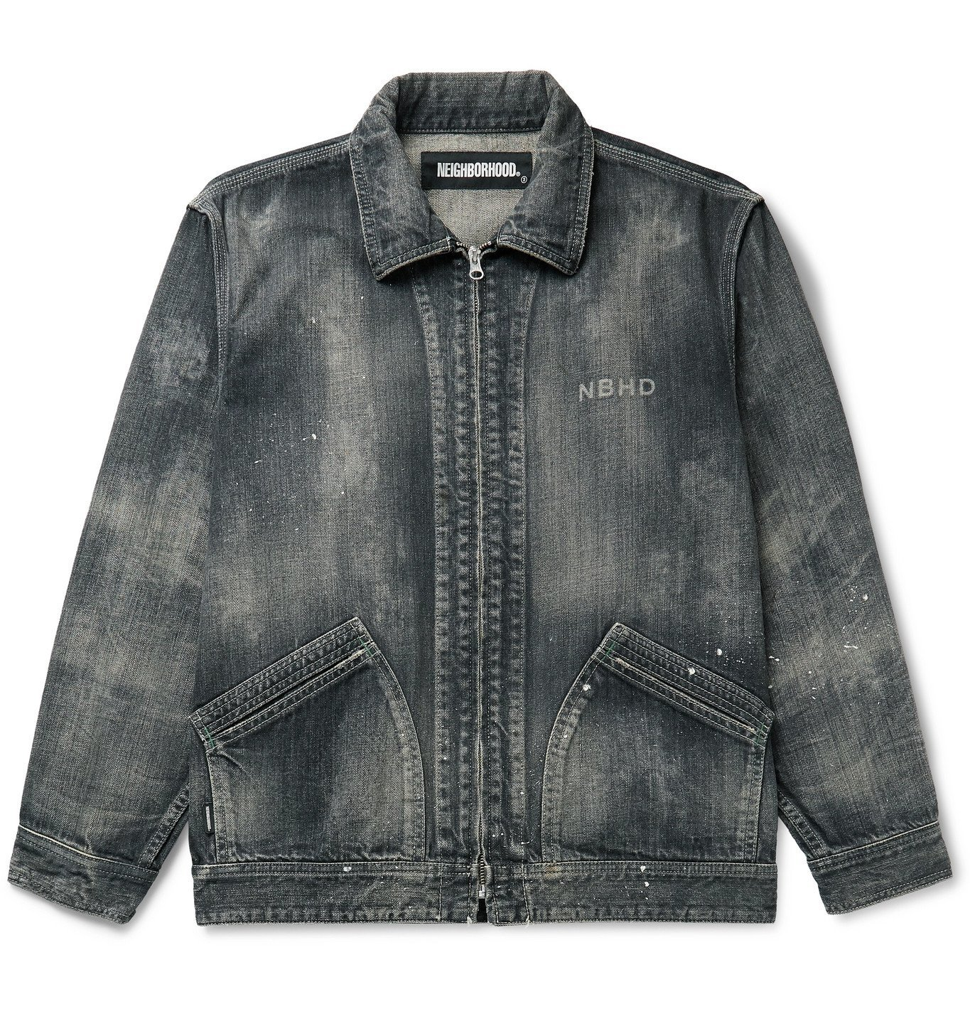 Photo: Neighborhood - Savage Logo-Print Distressed Paint-Splattered Denim Jacket - Black
