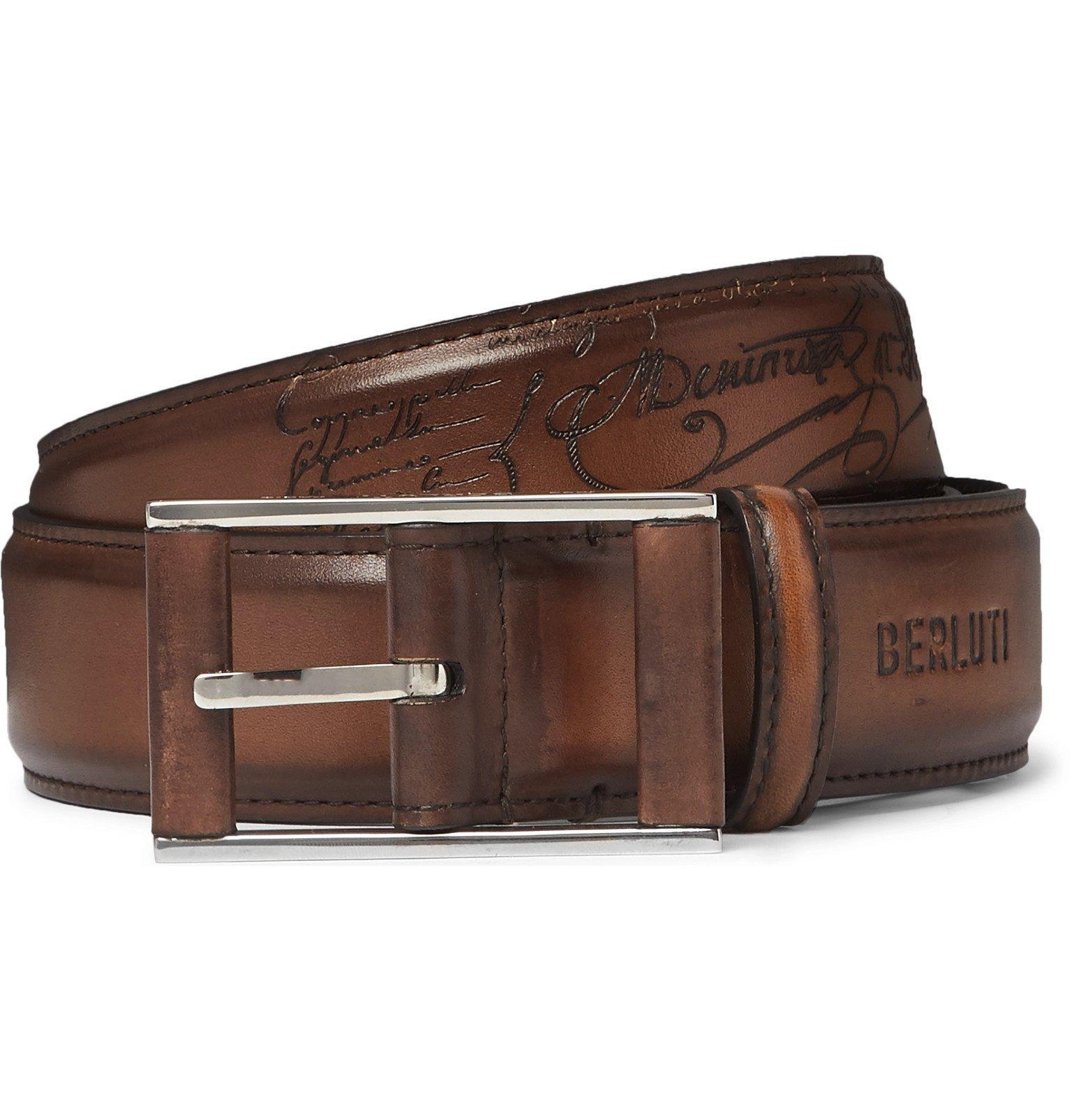 Photo: Berluti - 3.5cm Tan Scritto Leather Belt - Brown