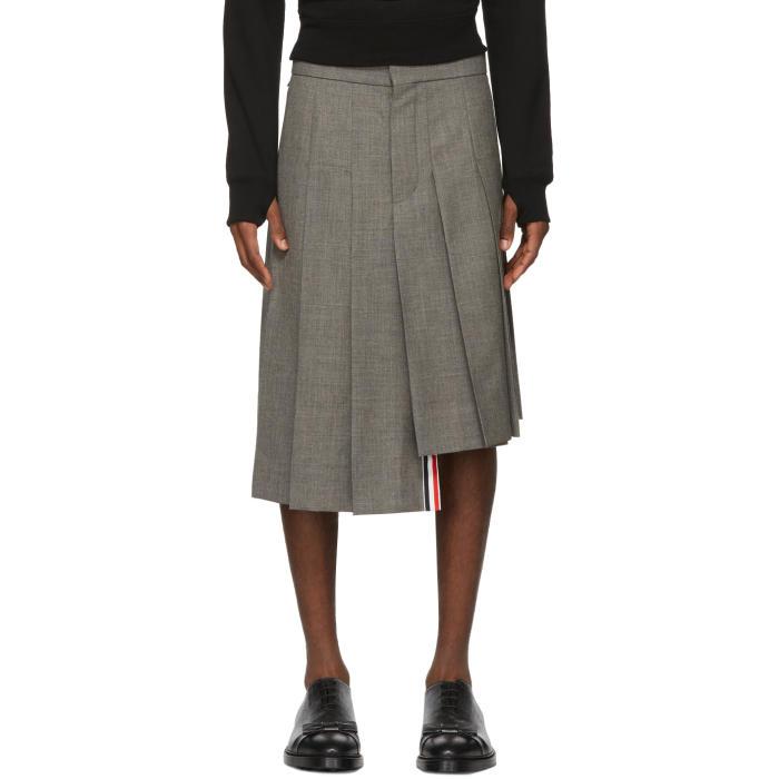 Photo: Thom Browne Grey Classic Pleated Miniskirt