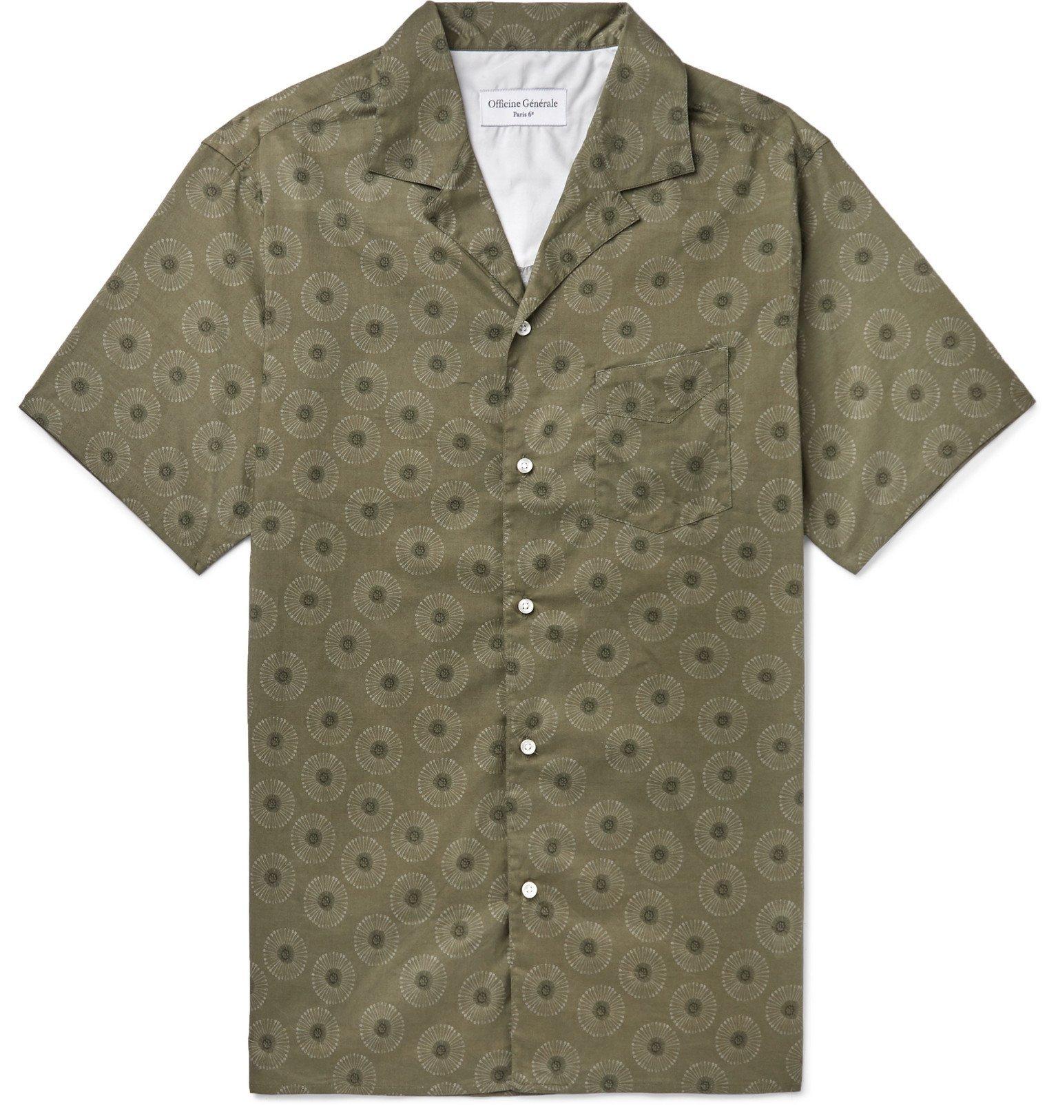 Photo: Officine Generale - Dario Camp-Collar Printed Cotton Shirt - Green