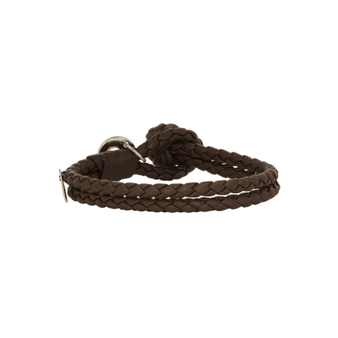 Bottega Veneta Brown Intrecciato Knot Bracelet