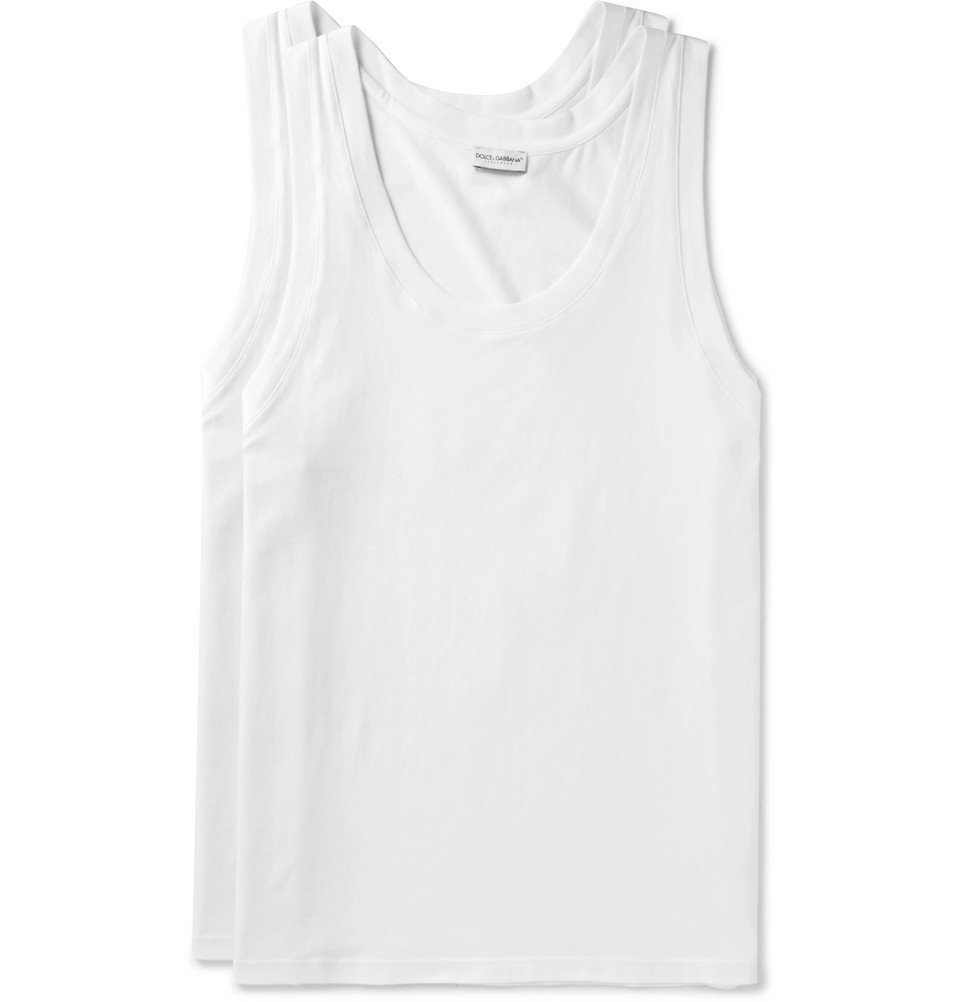 Photo: Dolce & Gabbana - Day By Day Two-Pack Stretch-Cotton Jersey Tank Tops - White
