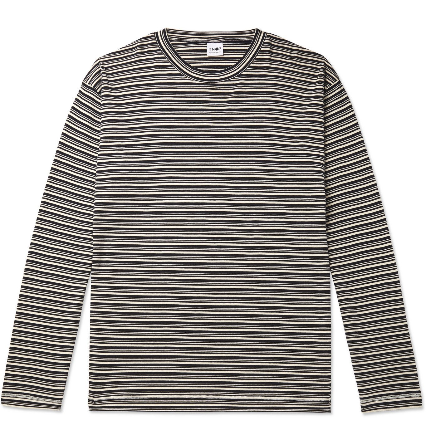 Photo: NN07 - Kurt 3463 Striped Cotton and Modal-Blend T-Shirt - Blue