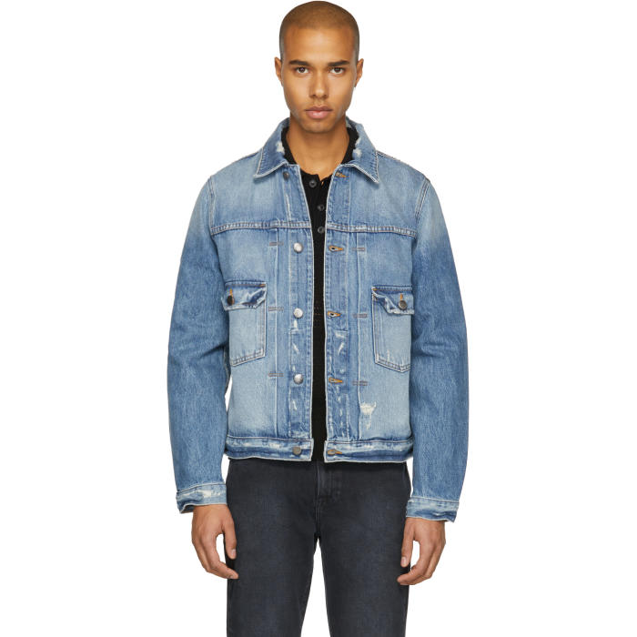 Photo: Frame Denim Blue LHomme Pleated Denim Jacket