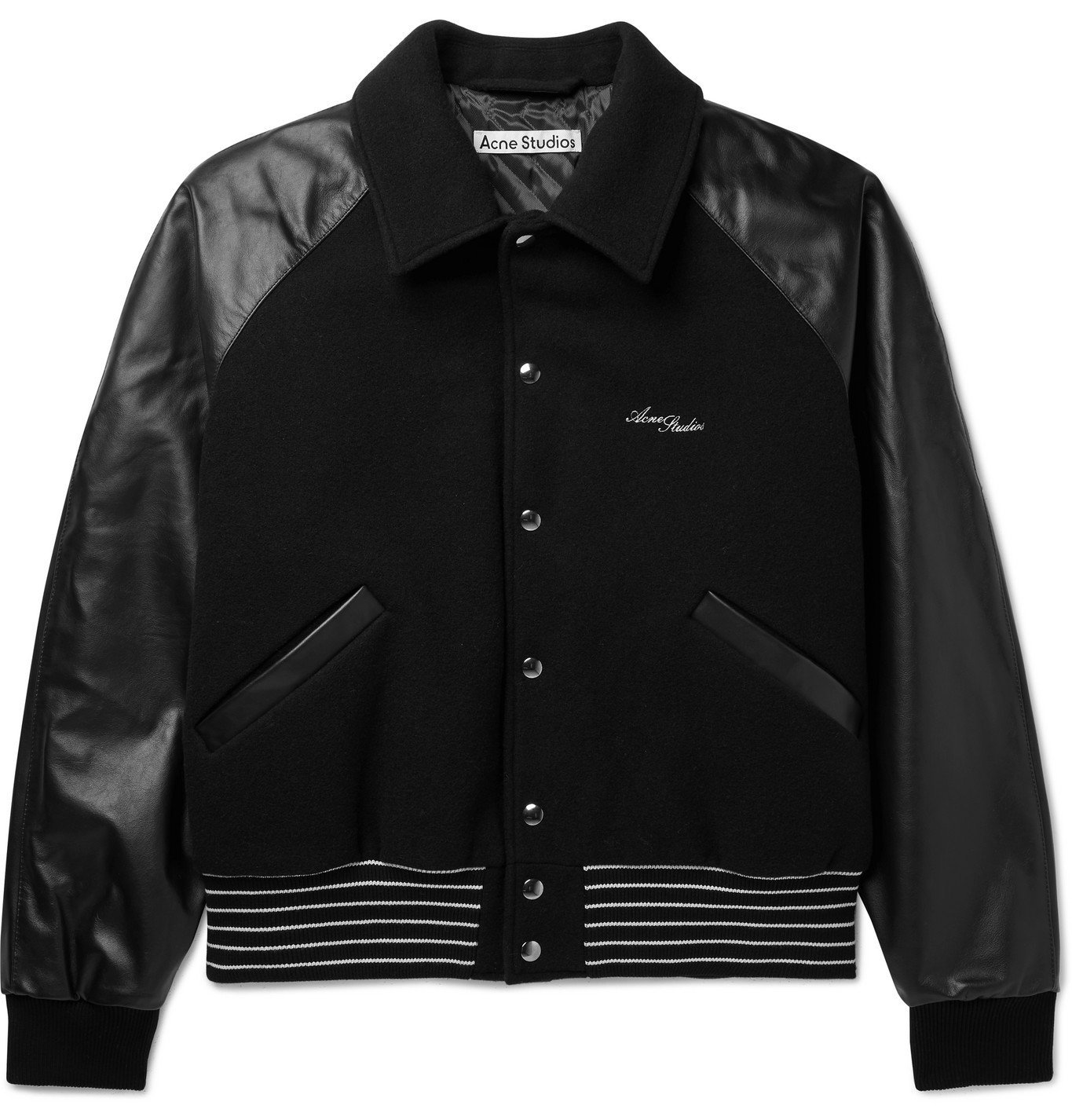 Photo: ACNE STUDIOS - Omber Cropped Padded Wool-Blend and Leather Bomber Jacket - Black