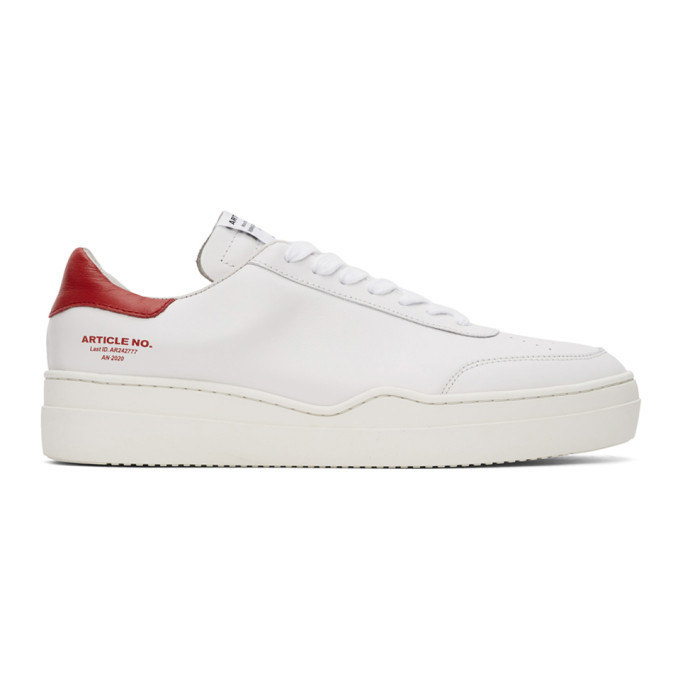 Photo: Article No. SSENSE Exclusive White and Red 0517-04-07 Sneakers