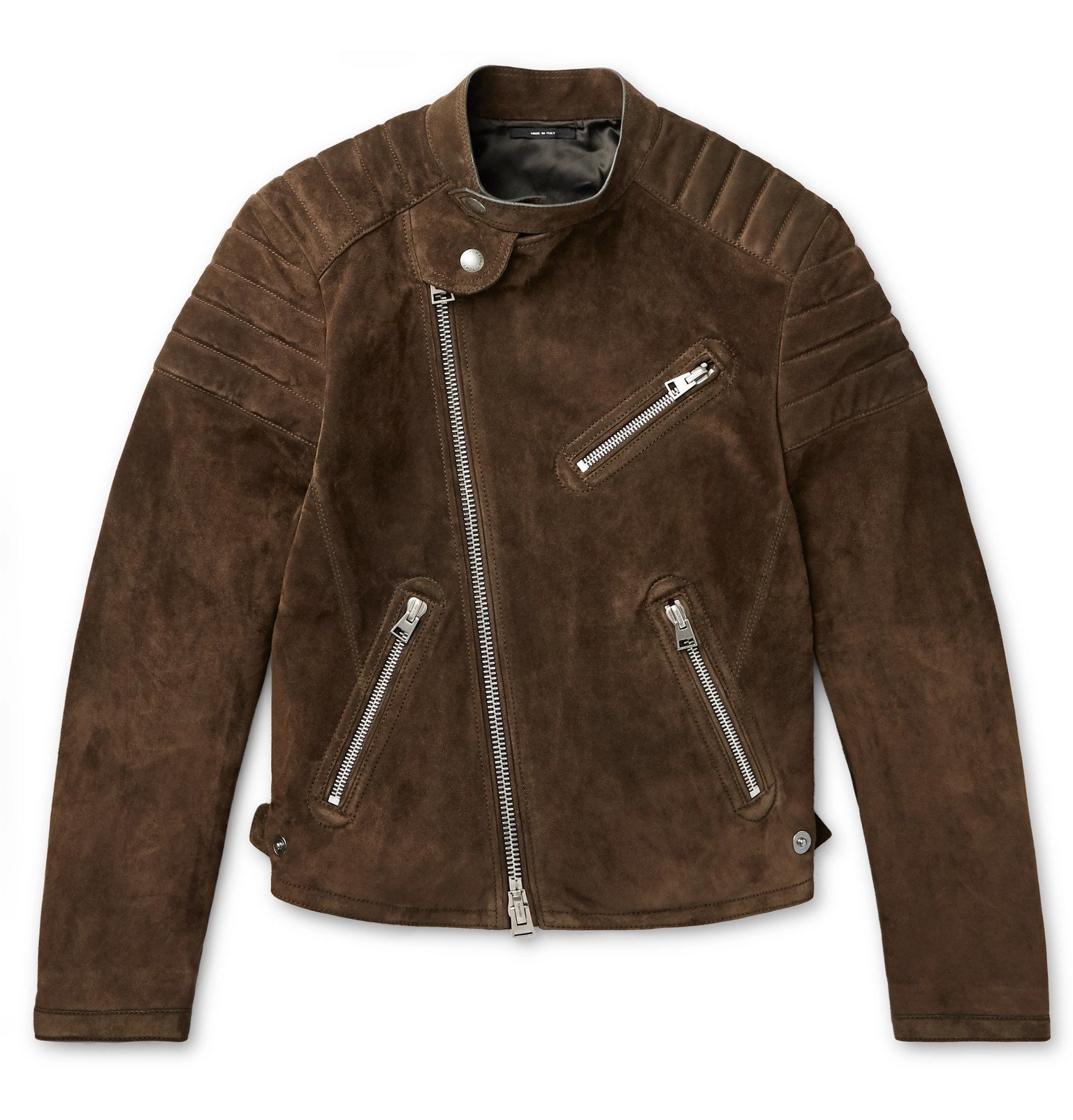 Photo: TOM FORD - Slim-Fit Suede Biker Jacket - Brown