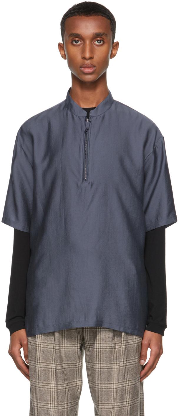 Photo: Giorgio Armani Navy Half-Zip Sport Short Sleeve Shirt