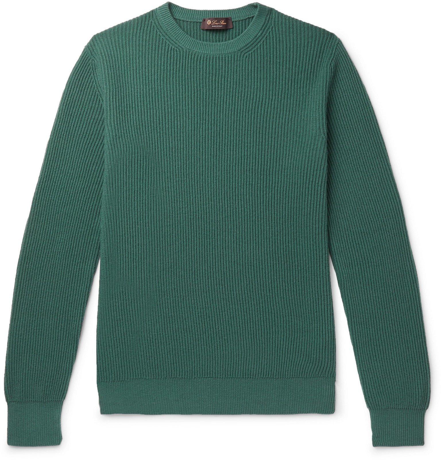 Photo: Loro Piana - Slim-Fit Ribbed Cashmere Sweater - Blue