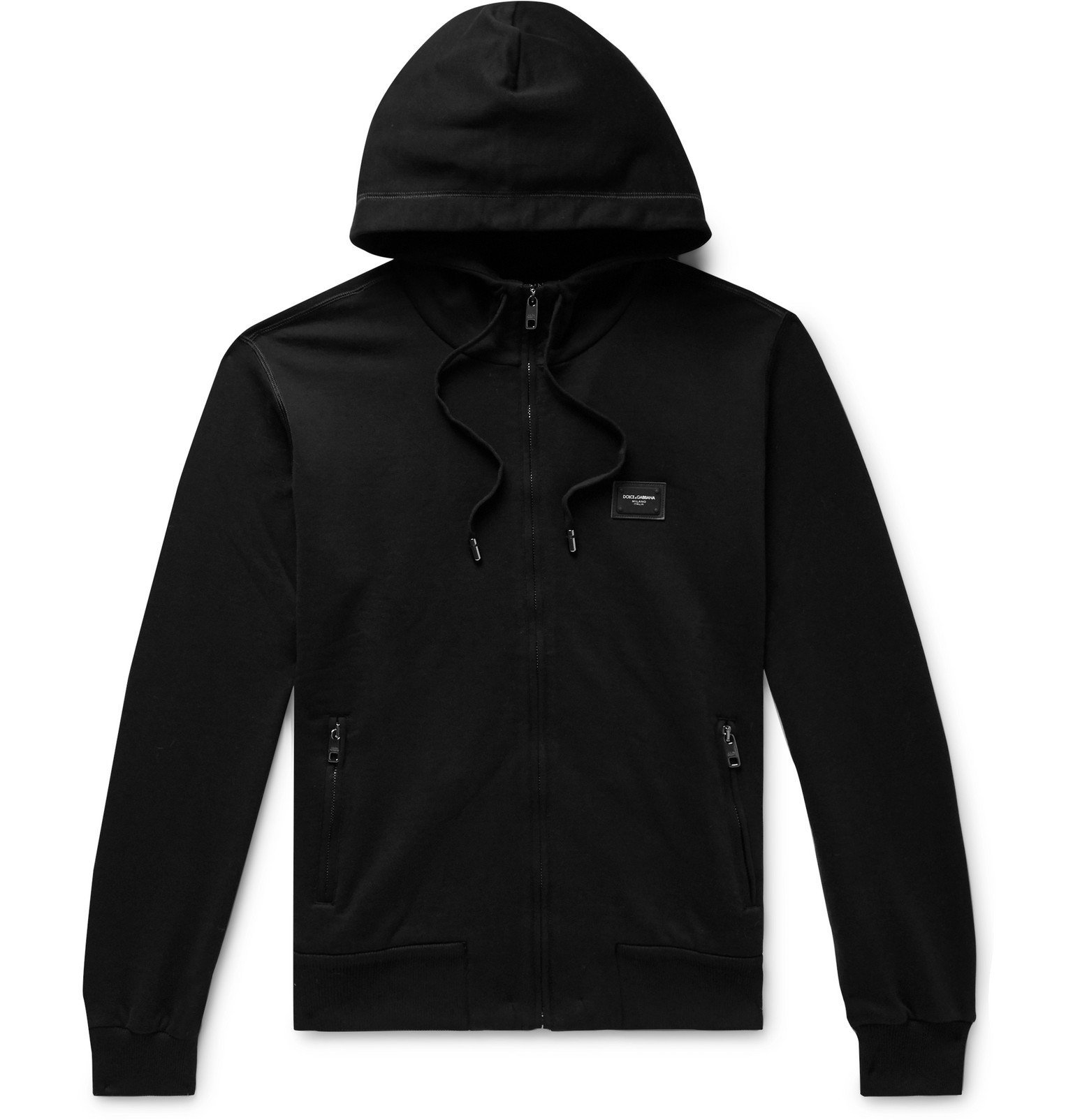 Photo: Dolce & Gabbana - Loopback Cotton-Jersey Zip-Up Hoodie - Black