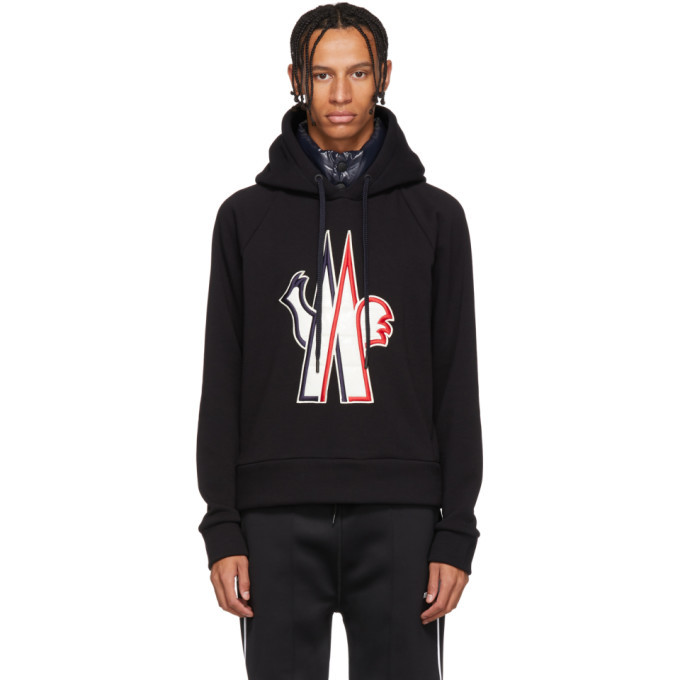 Photo: Moncler Grenoble Black Embroidered Logo Hoodie