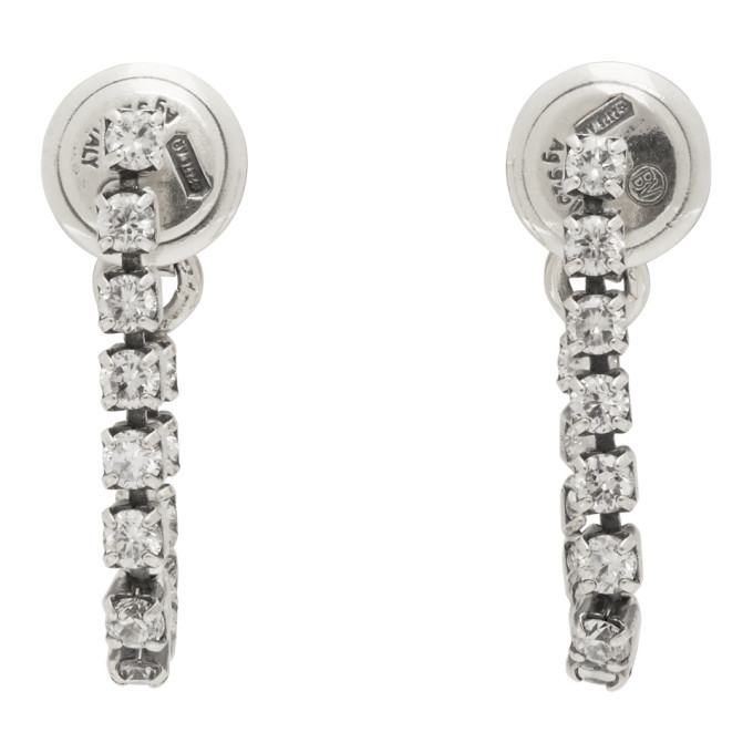 Photo: Bottega Veneta Silver Crystal Hoop Earrings