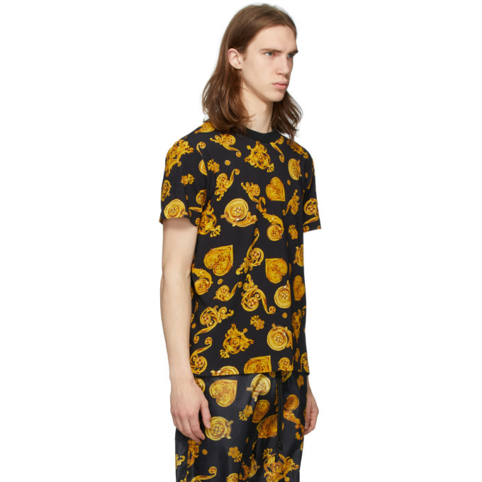 Versace Jeans Couture Black and Yellow Baroque T-Shirt