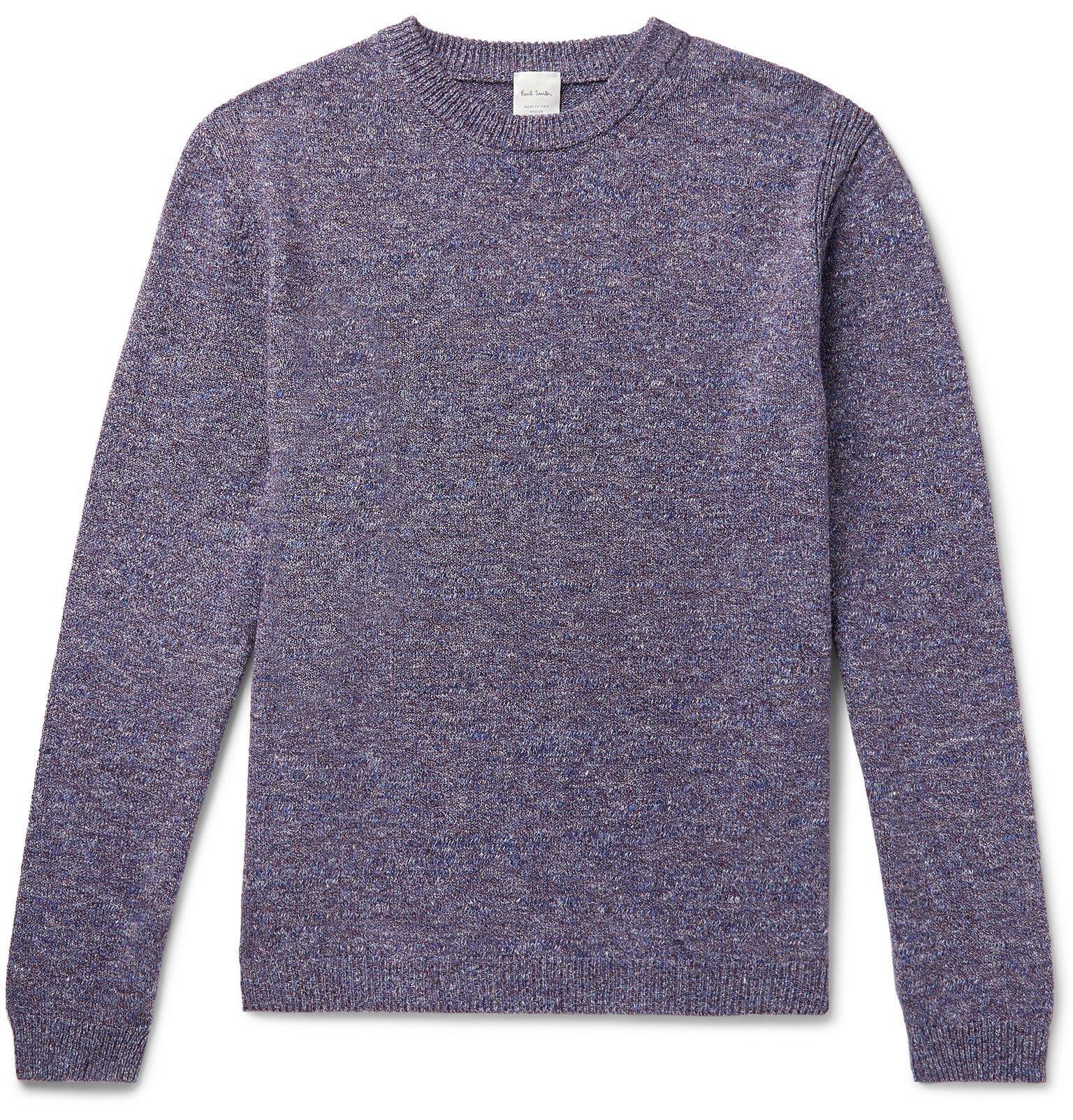Photo: Paul Smith - Mélange Cotton and Linen-Blend Sweater - Purple