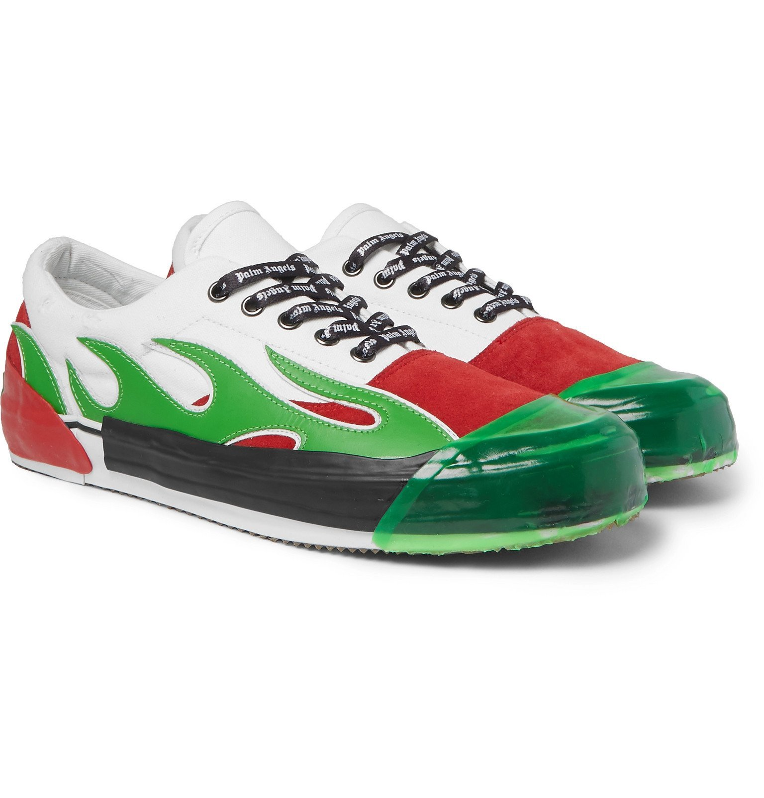 Photo: Palm Angels - Flame Distressed Canvas, Suede, Leather and Rubber Sneakers - Green