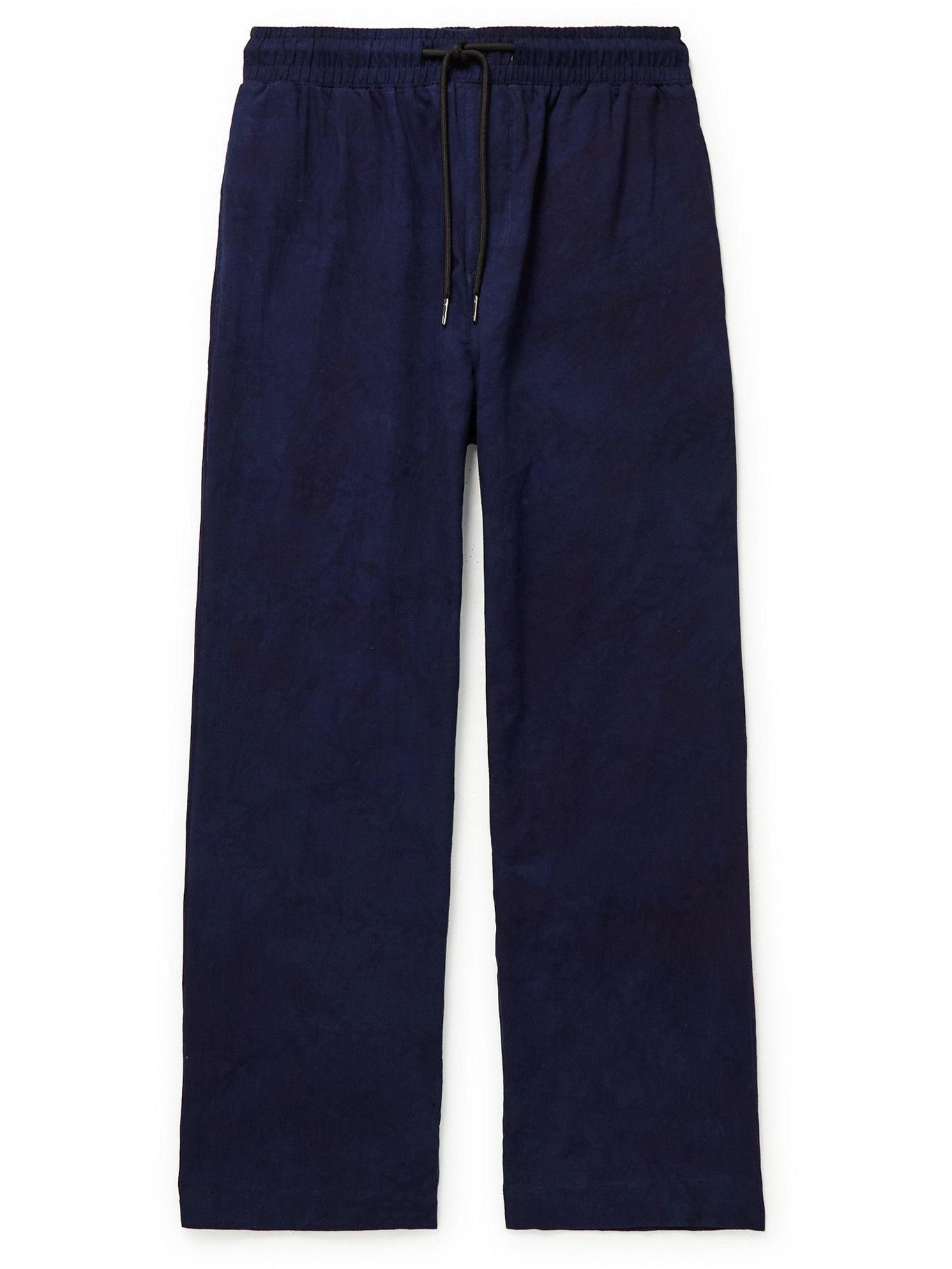 Photo: Post-Imperial - Ikeja Cotton Drawstring Trousers - Blue