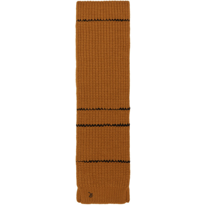 Raf Simons Brown Striped Collar Scarf