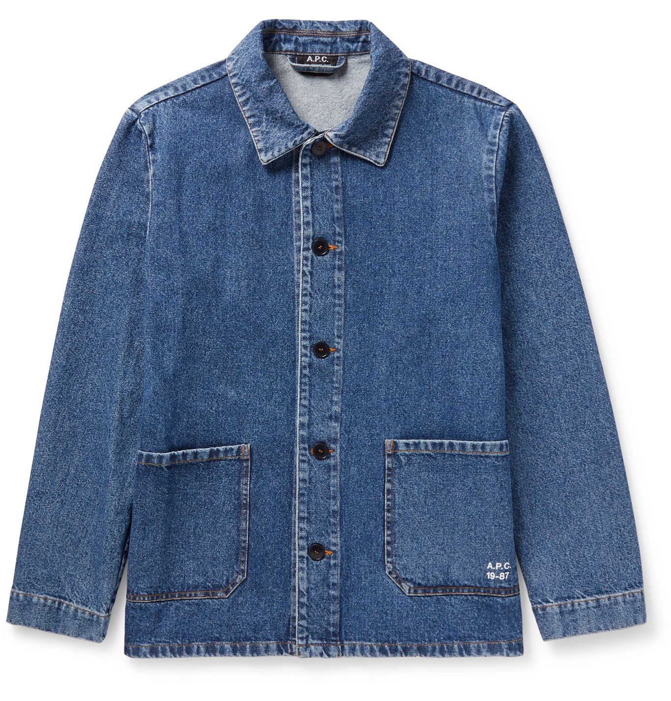 Photo: A.P.C. - Kerlouan Logo-Print Denim Chore Jacket - Blue