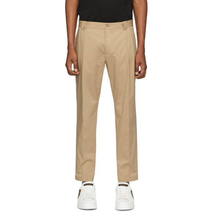 Photo: Dolce and Gabbana Beige Straight Leg Trousers