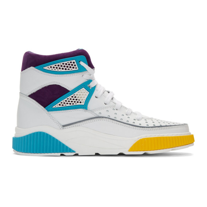 Photo: Balmain White and Multicolor Kery High-Top Sneakers