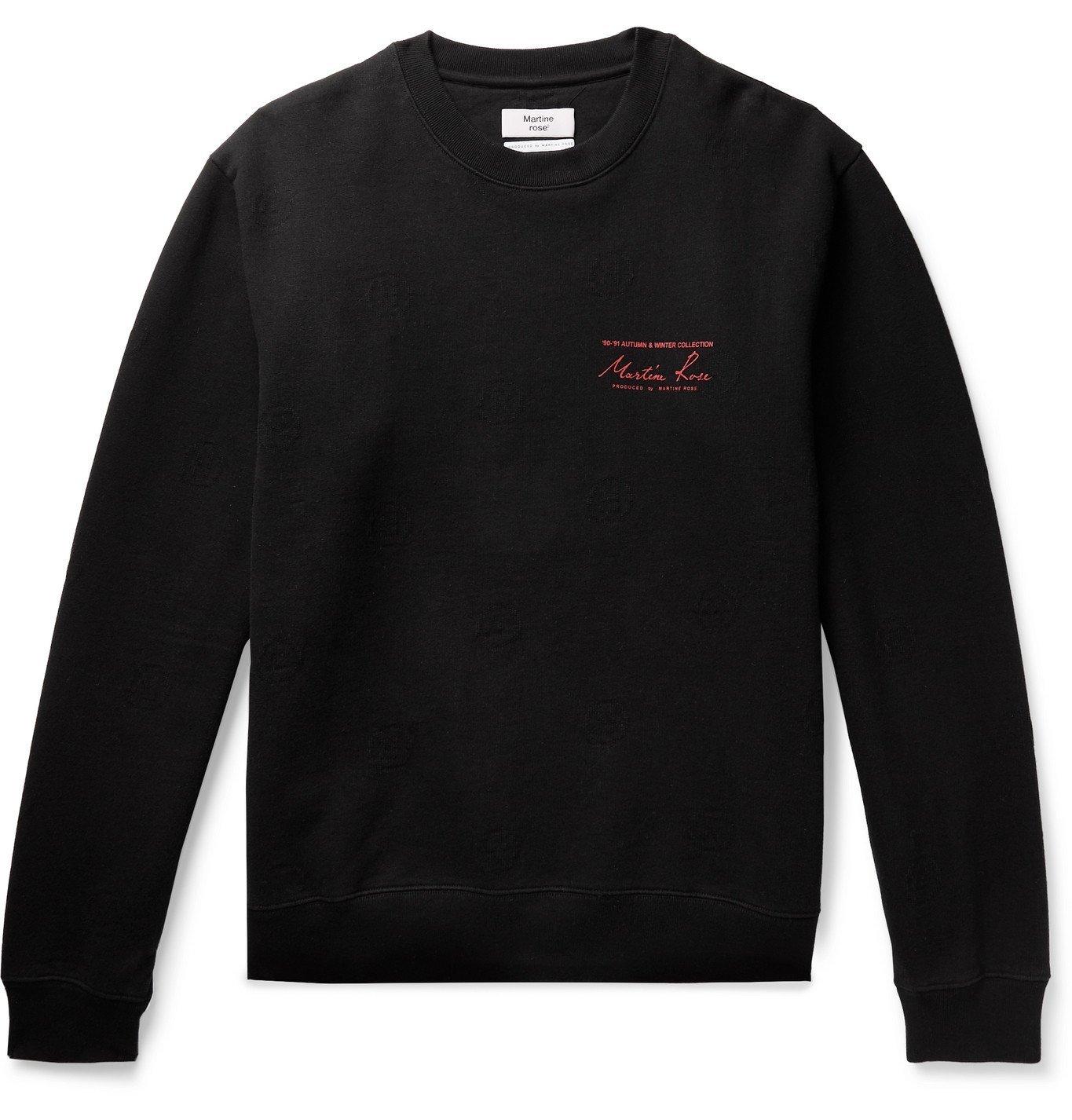 Photo: Martine Rose - Logo-Jaquard Printed Fleece-Back Cotton-Jersey Sweatshirt - Black