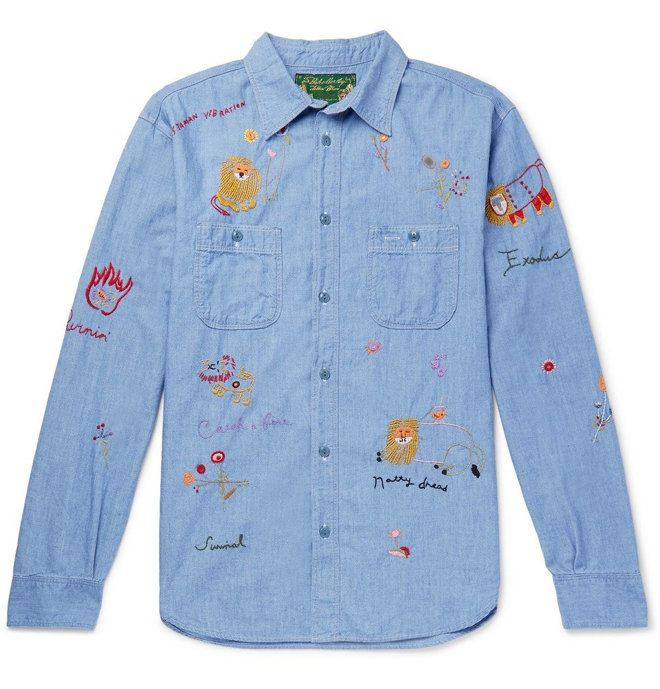 KAPITAL - Bob Marley Embroidered Cotton-Chambray Shirt - Light blue