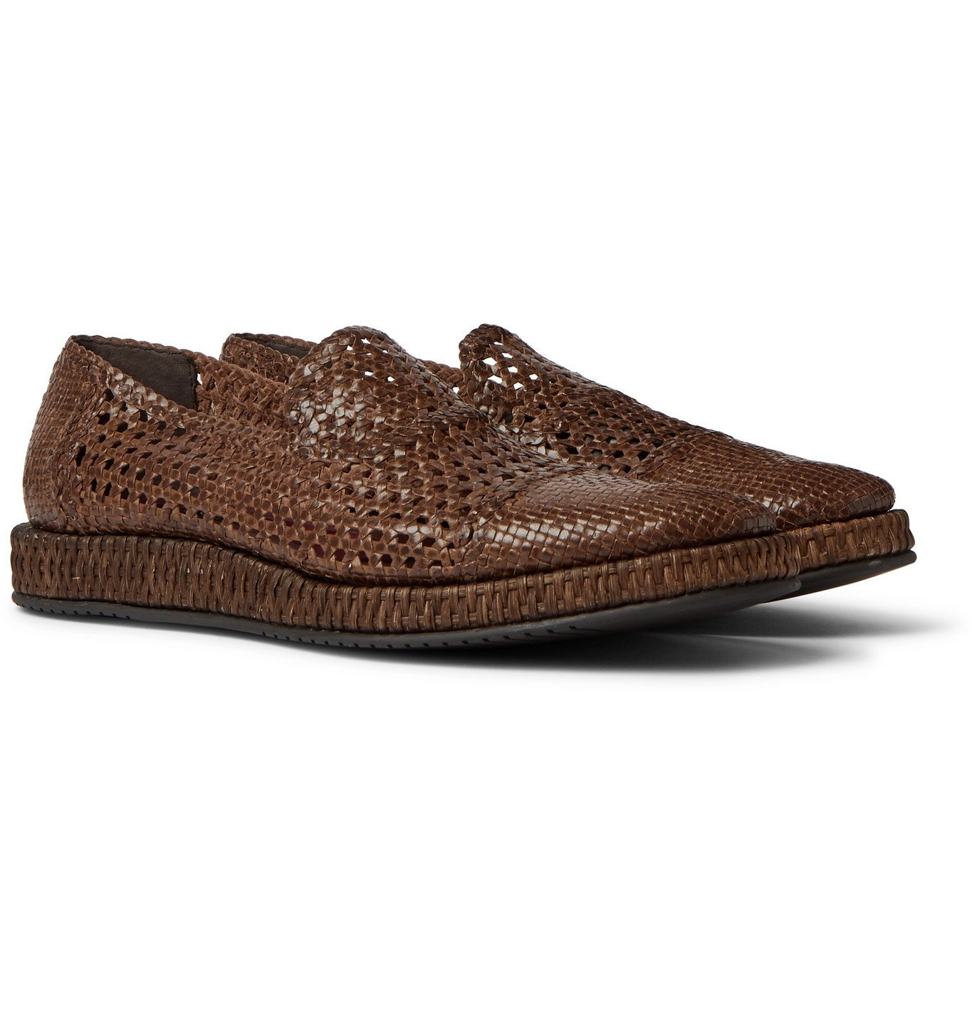 Photo: Dolce & Gabbana - Woven Leather Loafers - Brown