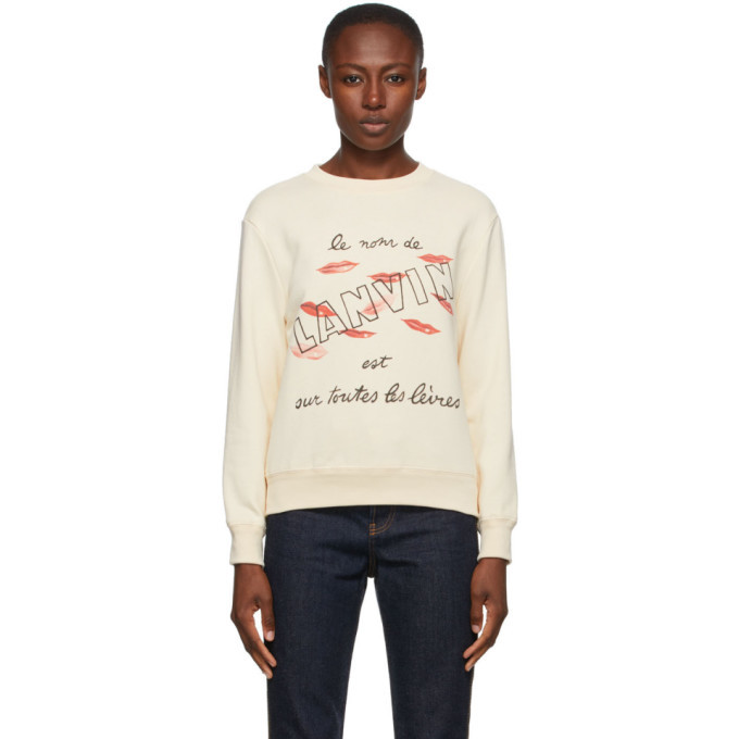 Photo: Lanvin Beige Lipstick Logo Sweatshirt