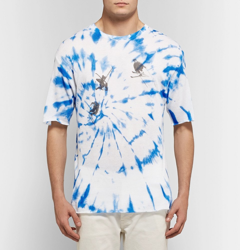 The Elder Statesman - Printed Tie-Dyed Cashmere and Silk-Blend T-Shirt - Blue