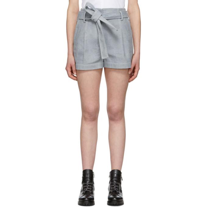 3.1 Phillip Lim Blue Denim Belted High-Waist Shorts