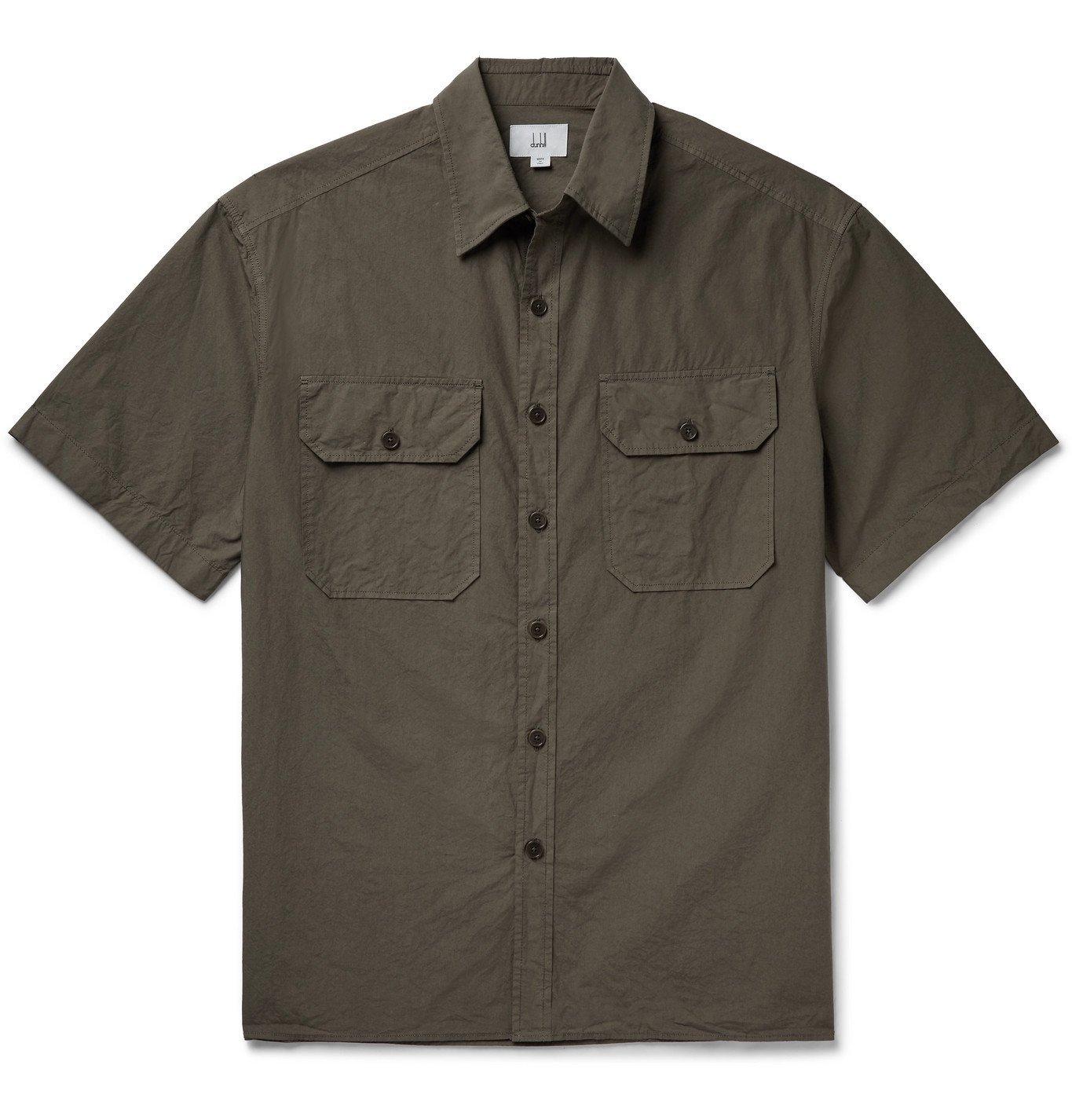 DUNHILL - Garment-Dyed Cotton Shirt - Brown