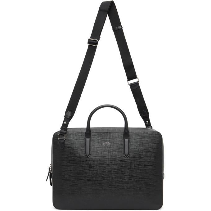 Photo: Smythson Black Panama Slim Lightweight Briefcase