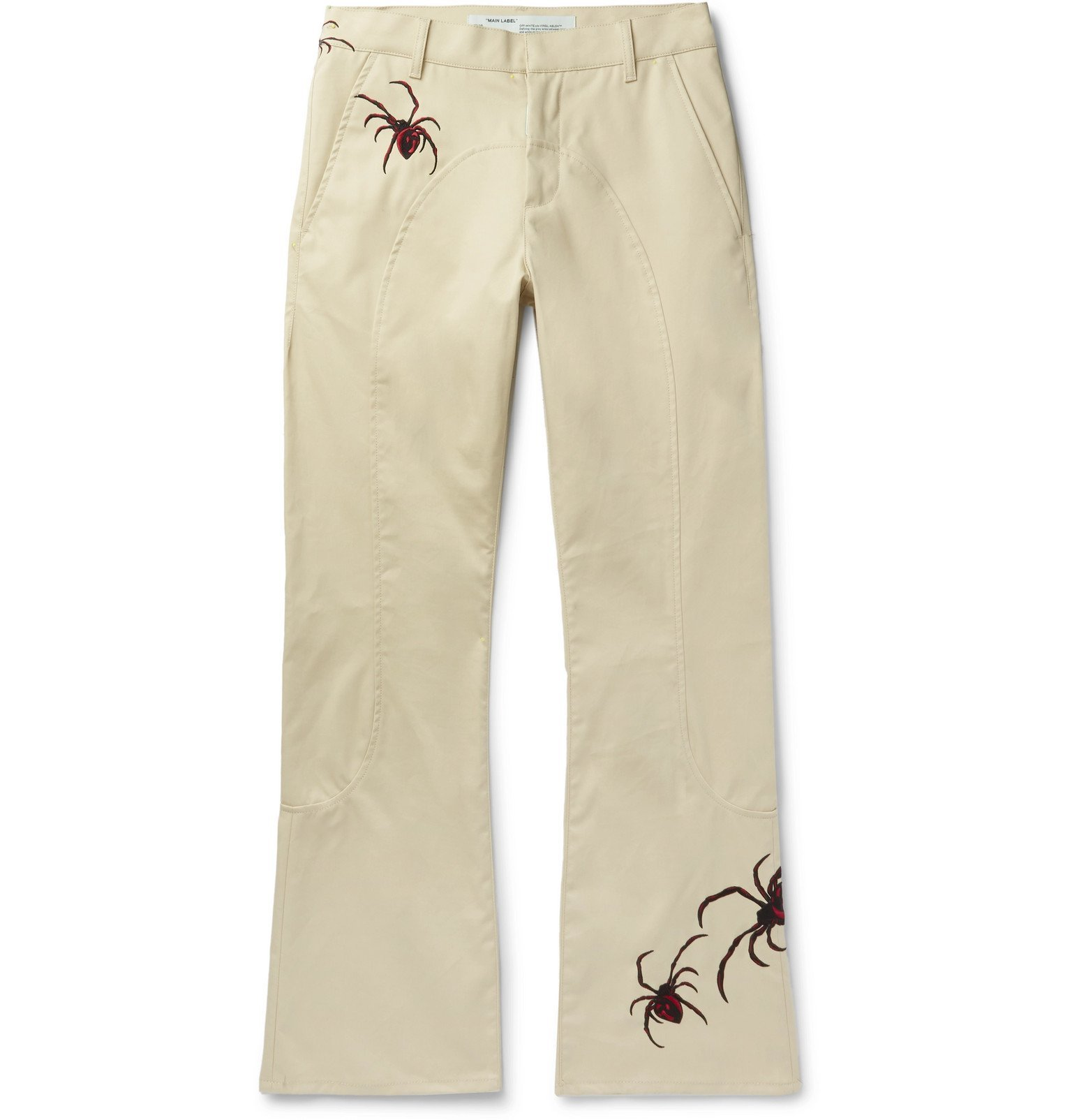 Photo: Off-White - Slim-Fit Flared Embroidered Cotton-Blend Chinos - Neutrals
