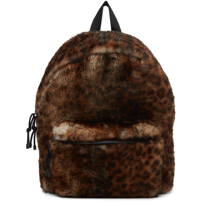 Photo: VETEMENTS Brown and Black Shearling Leopard Backpack